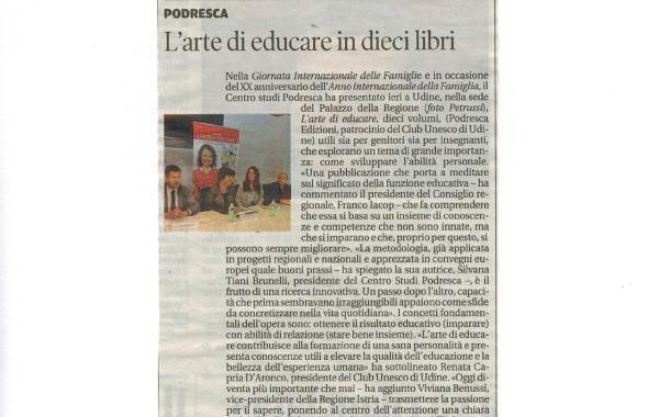 """""""L'arte di educare in 10 libri"""" – Messaggero Veneto, 16 maggio 2014"""