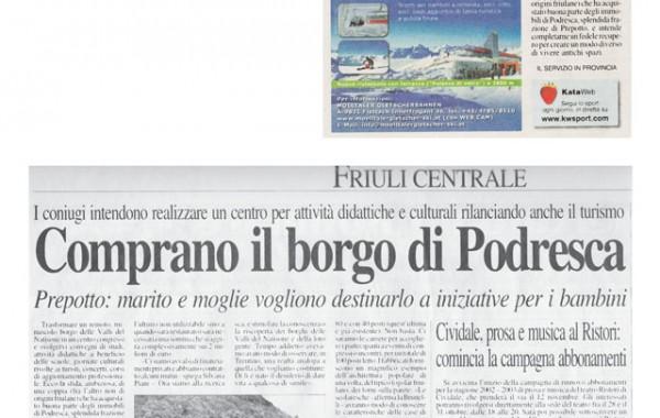 """""""Comprano il borgo di Podresca"""" – Messaggero Veneto, 23 ottobre 2002"""