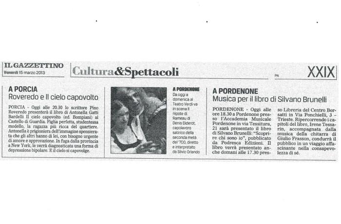 """""""Musica per il libro di Silvano Brunelli"""" – il gazzettino, Venerdì 15 marzo 2013"""