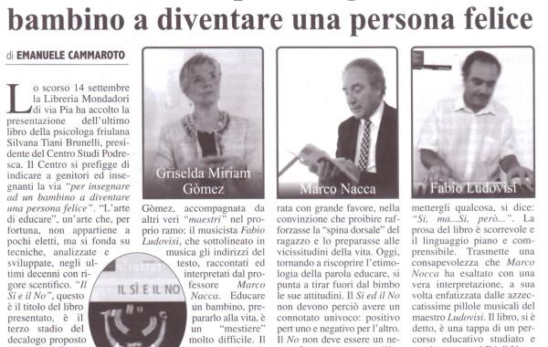 """""""Il Si e il No, per insegnare a un bambino a diventare una persona felice"""" – Velletri (Roma), 14 settembre 2012"""