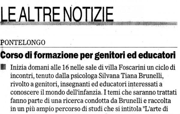 """""""Coso di formazione per genitori"""" – Il Gazzettino, 24 febbraio 2006"""