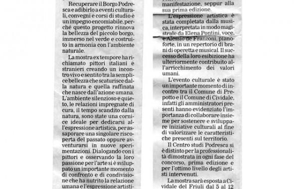 """""""Borgo Podresca sta rinascendo"""" – Messaggero Veneto, 23 giugno 2005"""