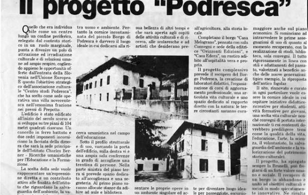 """""""Il progetto Podresca"""" – Messaggero Veneto"""